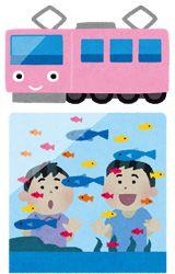 電車と水族館のイラスト